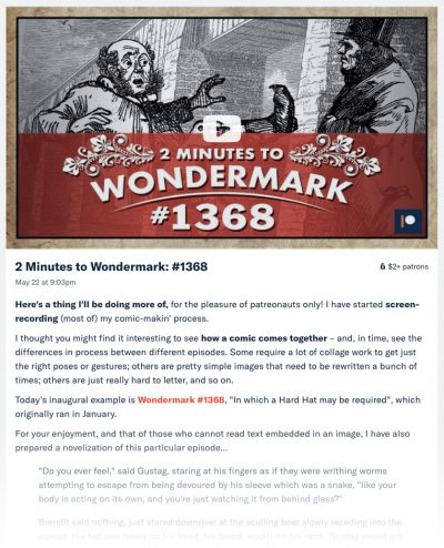 "Now showing on Patreon: ""2 Minutes to Wondermark"""