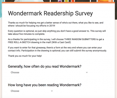 The first-ever WONDERMARK READERSHIP SURVEY !
